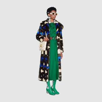 Gucci stripe faux fur coat