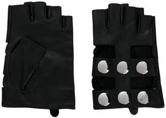 Karl Lagerfeld fingerless snap button gloves