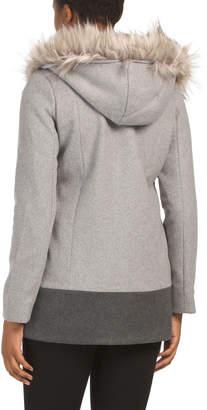 Juniors Wool Blend Coat With Faux Fur Hood