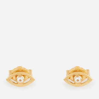 Missoma Women's Evil Eye White Topaz Studs - Gold