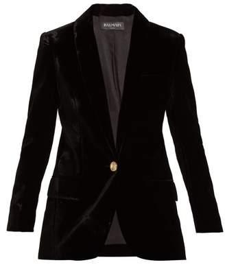 Balmain Single Breasted Velvet Blazer - Womens - Black