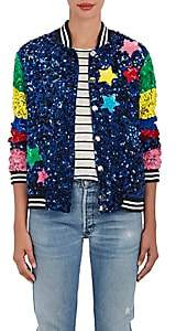 "Mira Mikati Women's ""Whatever"" Sequined Silk Bomber Jacket-Navy, Multi"