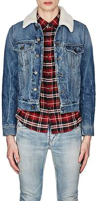Saint Laurent Men's Shearling-Detailed Denim Jacket - Blue