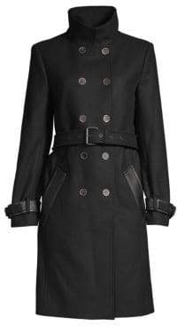 The Kooples Wool-Blend Double-Breasted Trench Coat