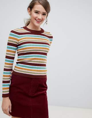 Asos DESIGN 70s striped ribbed sweater in fine knit