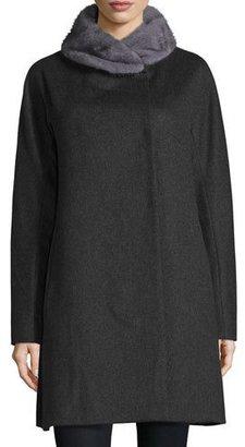 Sofia Cashmere Mink-Trim Felt Coat, Charcoal $1,200 thestylecure.com