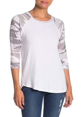 Sweet Romeo Raglan Camo Sleeve Baseball T-Shirt