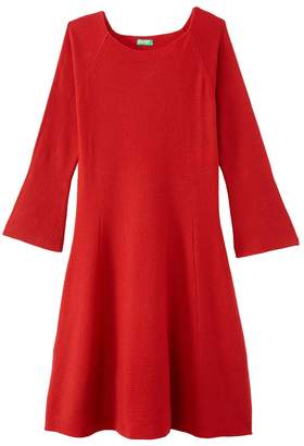 Benetton Short Flared Dress with Long Sleeves