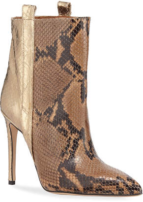 Paris Texas Metallic Snake-Embossed Stiletto Booties