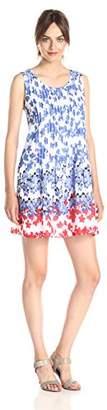 Ivy & Blu Women's Sleeveless Scoop Neck Floral Print Drop Waist Tank Dress,6
