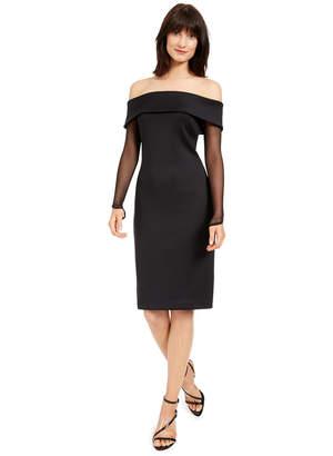 Calvin Klein Off-The-Shoulder Illusion-Sleeve Dress