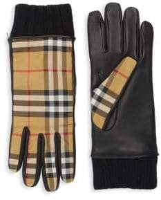 Burberry Check Leather Gloves