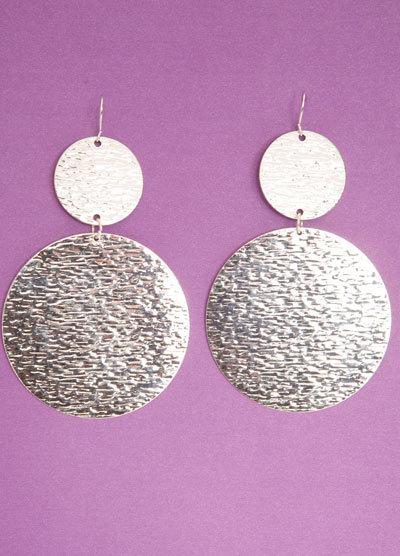 Silver Double Disk Earrings