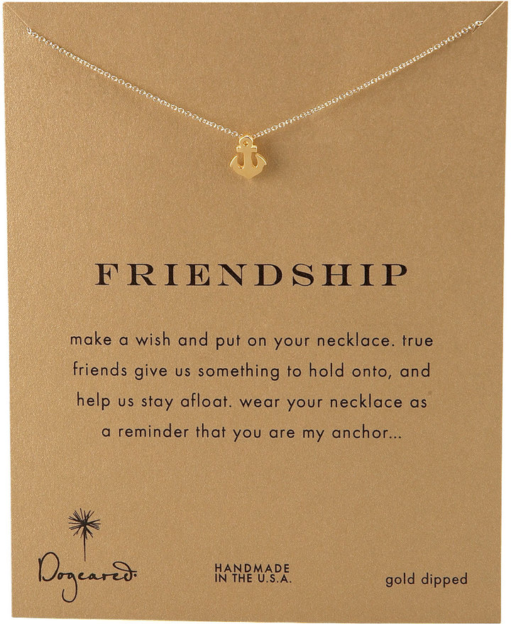 Dogeared Friendship Anchor Pendant Necklace
