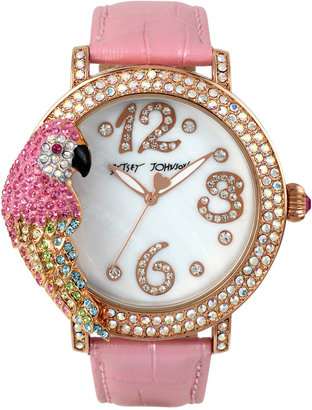 Betsey Johnson Women's Pink Pearlized Leather Strap Watch 44mm BJ00571-02 $125 thestylecure.com