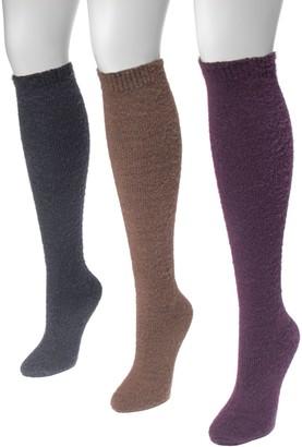 Muk Luks Women's 3 Pair Pack Fuzzy Yarn Knee High Socks
