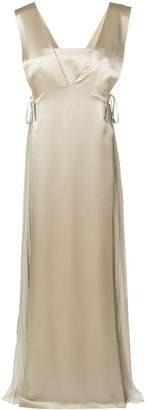 Alberta Ferretti sleeveless pleated panel gown