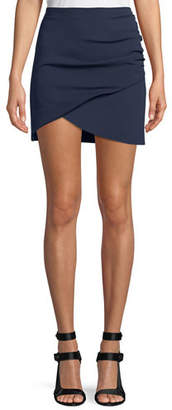 Alice + Olivia Fidela Draped Crepe Mini Skirt