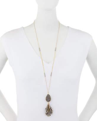 Panacea Druzy & Hematite Tassel Pendant Necklace