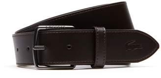 Lacoste Men's Engraved And Petit Pique Tongue Buckle Leather Belt