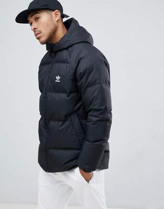 adidas reversible hooded Down puffer jacket in black DH5003