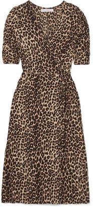 Faithfull The Brand Anne Marie Leopard-print Crepe Wrap Dress - Dark brown