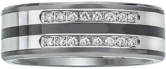 FINE JEWELRY Mens 1/5 CT. T.W. Diamond Ceramic, Tungsten and Stainless Steel Band Ring