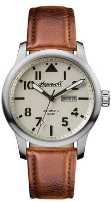 Ingersoll WATCHES Hatton Automatic Leather Strap Watch, 46mm