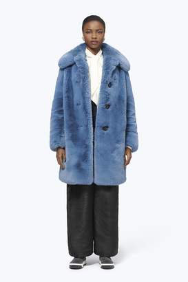 CONTEMPORARY Plush Faux Fur Coat With Rounded Collar