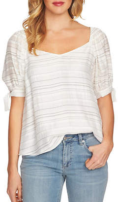 CeCe Puff-Sleeve Striped Blouse