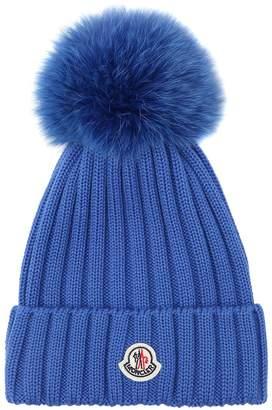 Moncler Wool Knit Beanie Hat W/ Fox Pompom