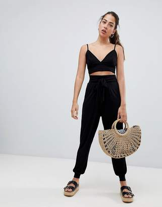 Asos Design Balloon Pants With Tie Front