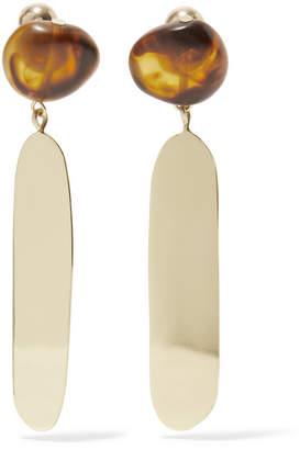 Dinosaur Designs Mineral Oval Gold-tone Resin Earrings - Tortoiseshell