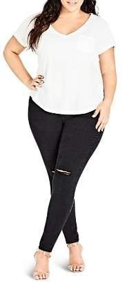 City Chic Plus Distressed Skinny Jeans in Black