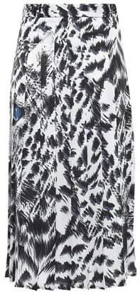 MSGM Pleated Printed Cady Midi Skirt