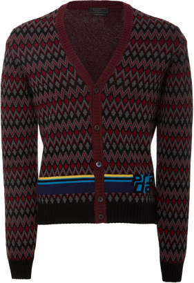 Prada Intarsia Wool and Cashmere-Blend Cardigan