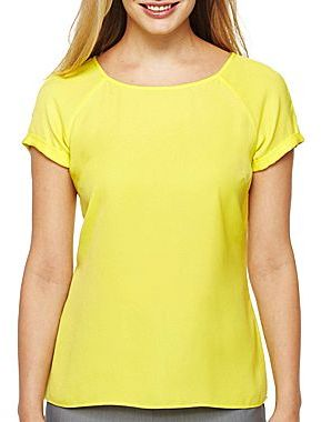 JCPenney Worthington® Short-Sleeve Woven Blouse - Petite