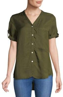 Caara Treasure Hi-Lo Cotton Button-Down Shirt