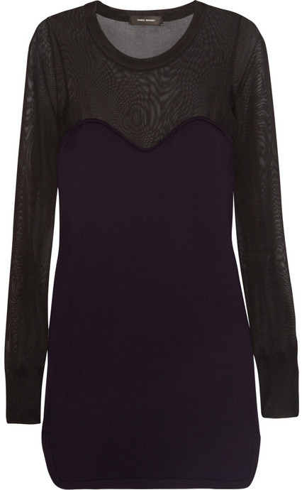 Isabel Marant Aglaee sheer-paneled wool-blend dress