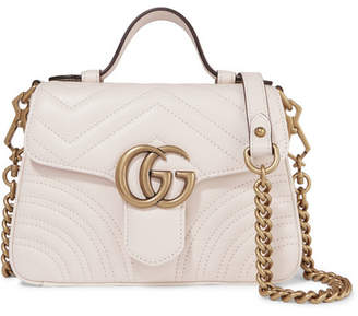 4d9a8da6f1c Gucci Gg Marmont Mini Quilted Leather Shoulder Bag - White