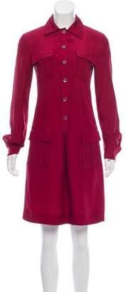 Philosophy di Alberta Ferretti Silk Button-Up Knee-Length Dress