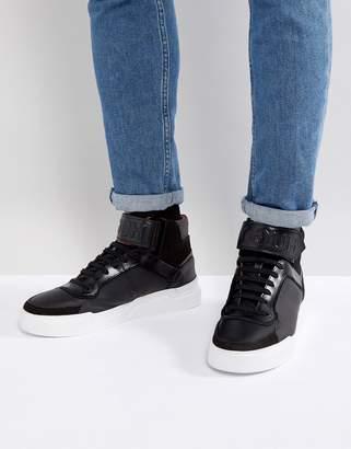 HUGO Symmetric Hi Top Logo Sneakers in Black