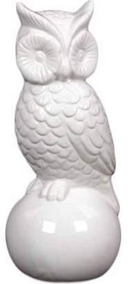 Urban Trends Collection: Ceramic Owl Figurine, Gloss Finish, White