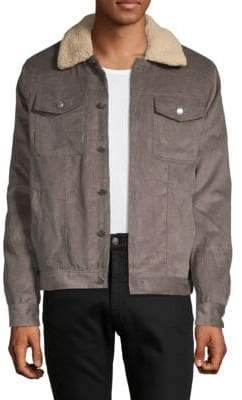 Saks Fifth Avenue Faux Shearling Collared Cotton Trucker Jacket