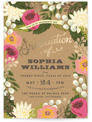 Floral Canopy Foil-Pressed Graduation Announcements