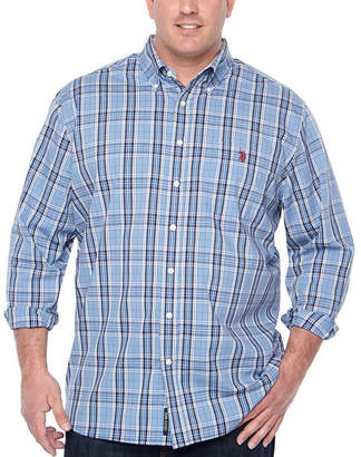 U.S. Polo Assn. USPA Mens Y Neck Long Sleeve Plaid Button-Front Shirt-Big and Tall