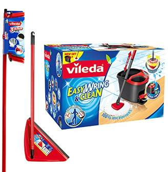 Vileda Easy Wring and Clean Microfibre Mop and Bucket with Power Spin Wringer with 3 Action Broom Plus Long Handled Dustpan