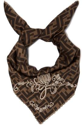 Fendi Embroidered Logo Print Silk Scarf - Womens - Brown