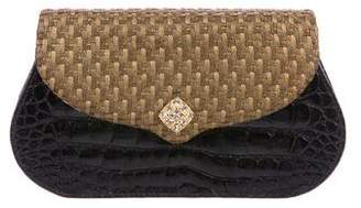 Lana Marks Alligator Woven-Accented Clutch