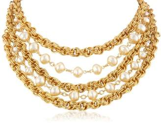"""Ben-Amun Jewelry """"Gold and Pearl"""" Multi-Row Necklace"""